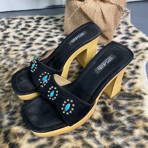 Unique Wooden Platform Chunky Turquoise Adorned Sandals Black Heels
